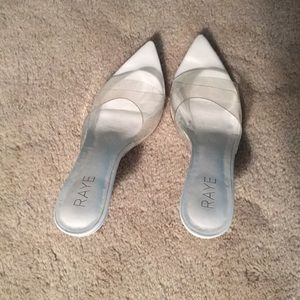 RAYE gorgeous white and clear kitten heels!